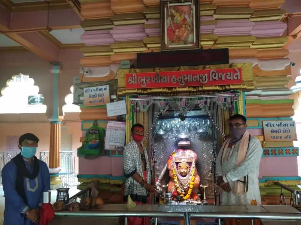 સ્વયં પ્રગટ ભૂરખીયા હનુમાનજી દાદાનું મંદિર દર્શનાર્થીઓ માટે ખુલ્લું મૂકાયું.
