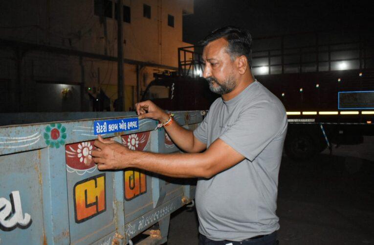 Halvad-Morbi રોટરી અને રોટરેક્ટ ક્લબ ઓફ હળવદ દ્વારા ટ્રેકટરની ટ્રોલી પાછળ રેડિયમ સ્ટીકર લગાવવામાં આવ્યાં.